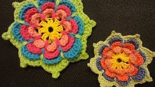 Объёмный цветок Вязание крючком Volumetric flower Crochet(, 2014-01-03T13:18:56.000Z)