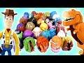 MINHA COLEÇÃO DE EGG STARS! Disney Pixar, Dinossauros, Toy Story Woody, Carros e mais (エッグスターズ)