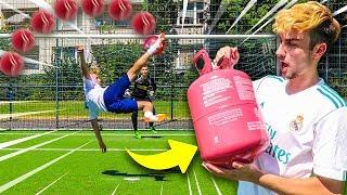 RIESEN PLASTIKBALL HELIUM FUßBALL CHALLENGE!!