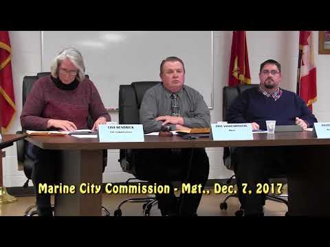 Marine City Commission Meeting, Thursday, Dec. 7, 2017