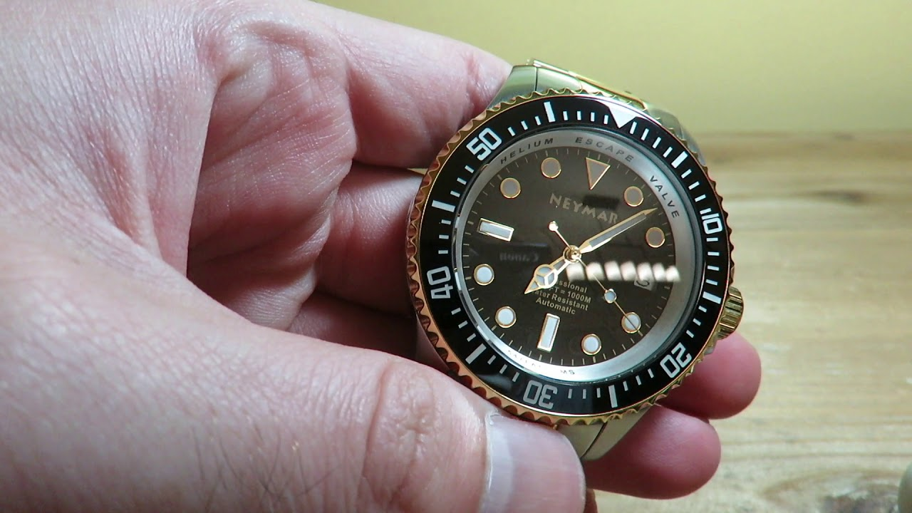 b277703ca Neymar 1000M Automatic Mens Diving Watch Two Tone Review Rolex Deepsea  Homage?