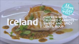 Chicken with crushed carrots, swede and spicy lentil sauce