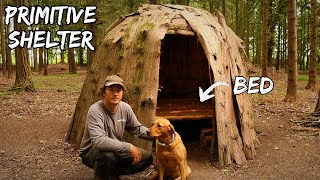 Primitive Bushcraft Shelter - Building a Wigwam Survival Bed using Hand Tools, at the woodland camp
