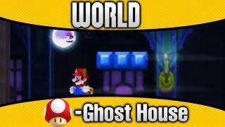 New Super Mario Bros. 2 - World Mushroom-Ghost House 100% All Star Coins & Secret Exit