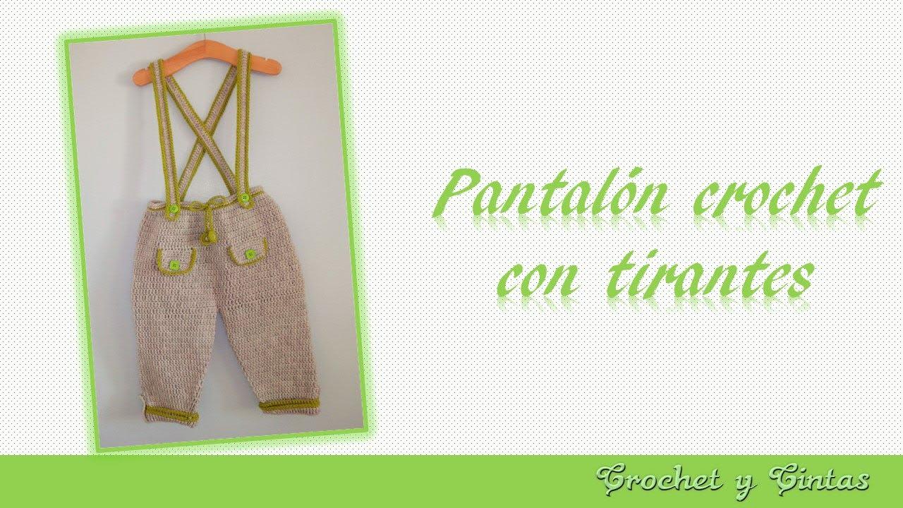 Pantalón con tirantes para niños tejido a crochet (ganchillo ...