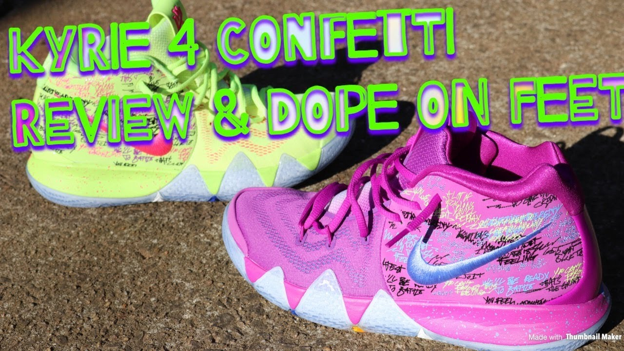 66a6330de616 NIKE KYRIE 4 CONFETTI REVIEW   FIRE ON FEET!! - YouTube