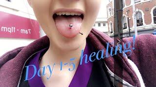 TONGUE PIERCING HEALING PROCESS DAYS 1-5