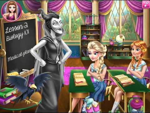 Мультик игра Холодное сердце: Эльза и Анна в школе Малефисенты (Frozen Highschool Mischief)