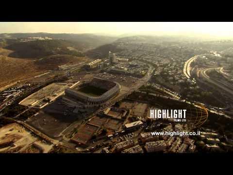 AJ027n - Israel Stock Footage: Aerial footage of Jerusalem Malha Sport Center & shopping mall