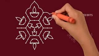 Deepa Rangoli Deepam Muggulu Vilaku Kolam Diwali Rangoli Deepavali Rangoli with 5x9 dots