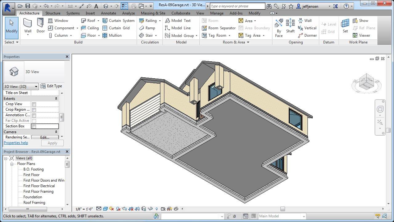 Jensen 39 s revit tutorial residential house 10 thicken for Revit architecture modern house design 8
