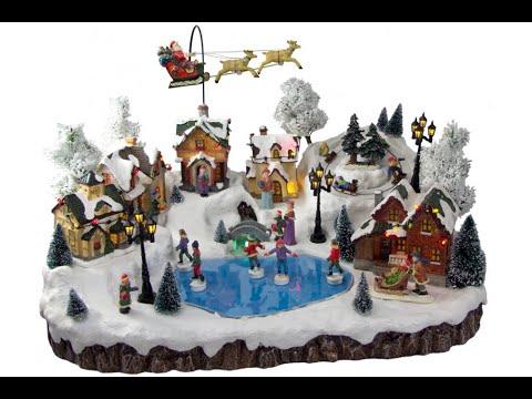 Illuminated, Animated & Musical Mountain Village Scene Ornament