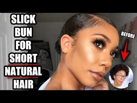 SLICK BUN on SHORT THICK NATURAL HAIR | Faceovermatter