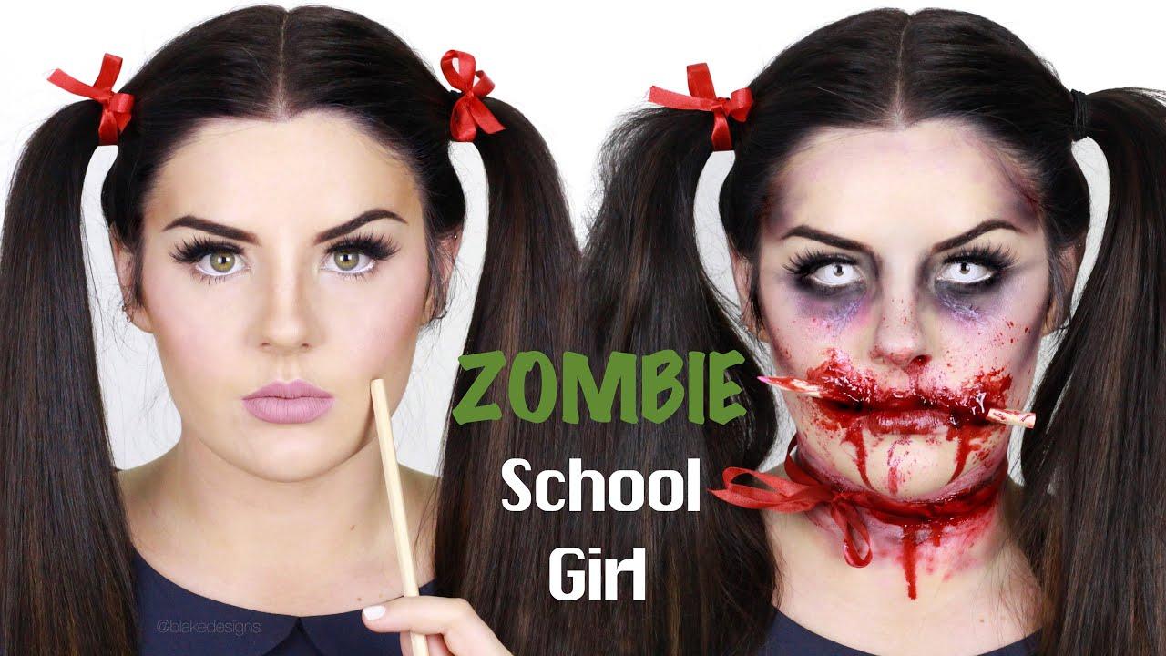 Zombie School Girl (PENCIL THROUGH FACE) || Makeup ...