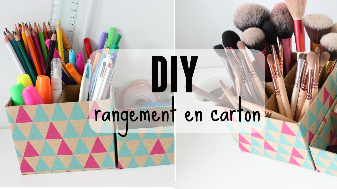 diy rangement crayons ou pinceaux en carton youtube. Black Bedroom Furniture Sets. Home Design Ideas