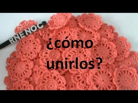 Como unir flores motivos completos ganchillo crochet - Como hacer flores de ganchillo ...