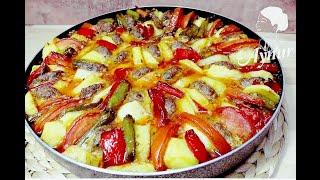 Frikadellen vom Blech mit Gemüse im Ofen I Firinda Köfteli Sebze Dizmesi