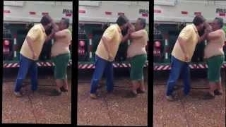 Motorista bebado apanha depois de fazer graças com carreta