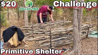 7 Day $20 Dollar Tree Survival Challenge - Day 2 - Primitive Shelter