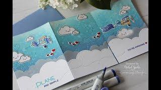 Lawn Fawn | Tri Fold Plane and Simple Card