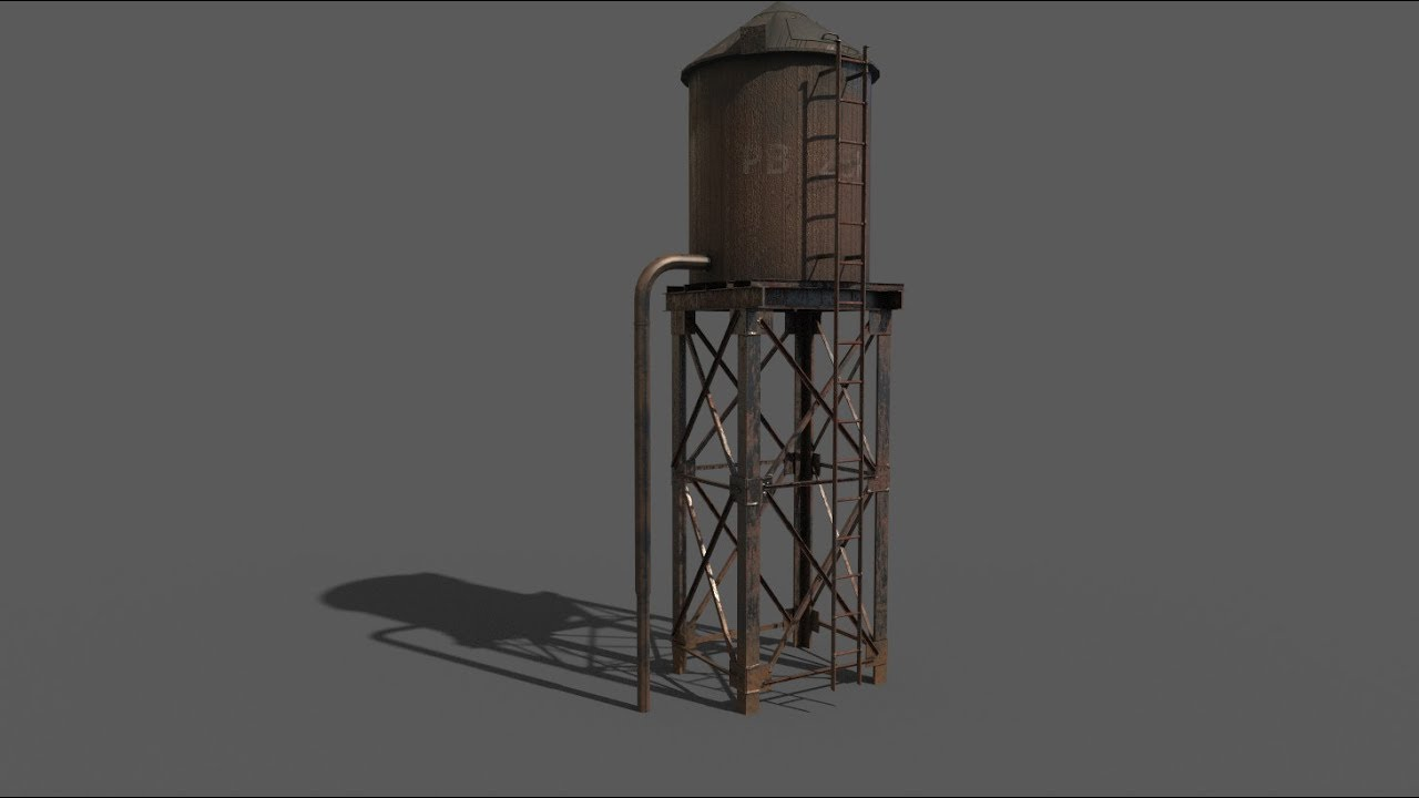 Texturing Water Tower 3ds max- Substance painter tutorial
