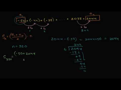 Worked example: arithmetic series (sum expression) | High School Math | Khan Academy