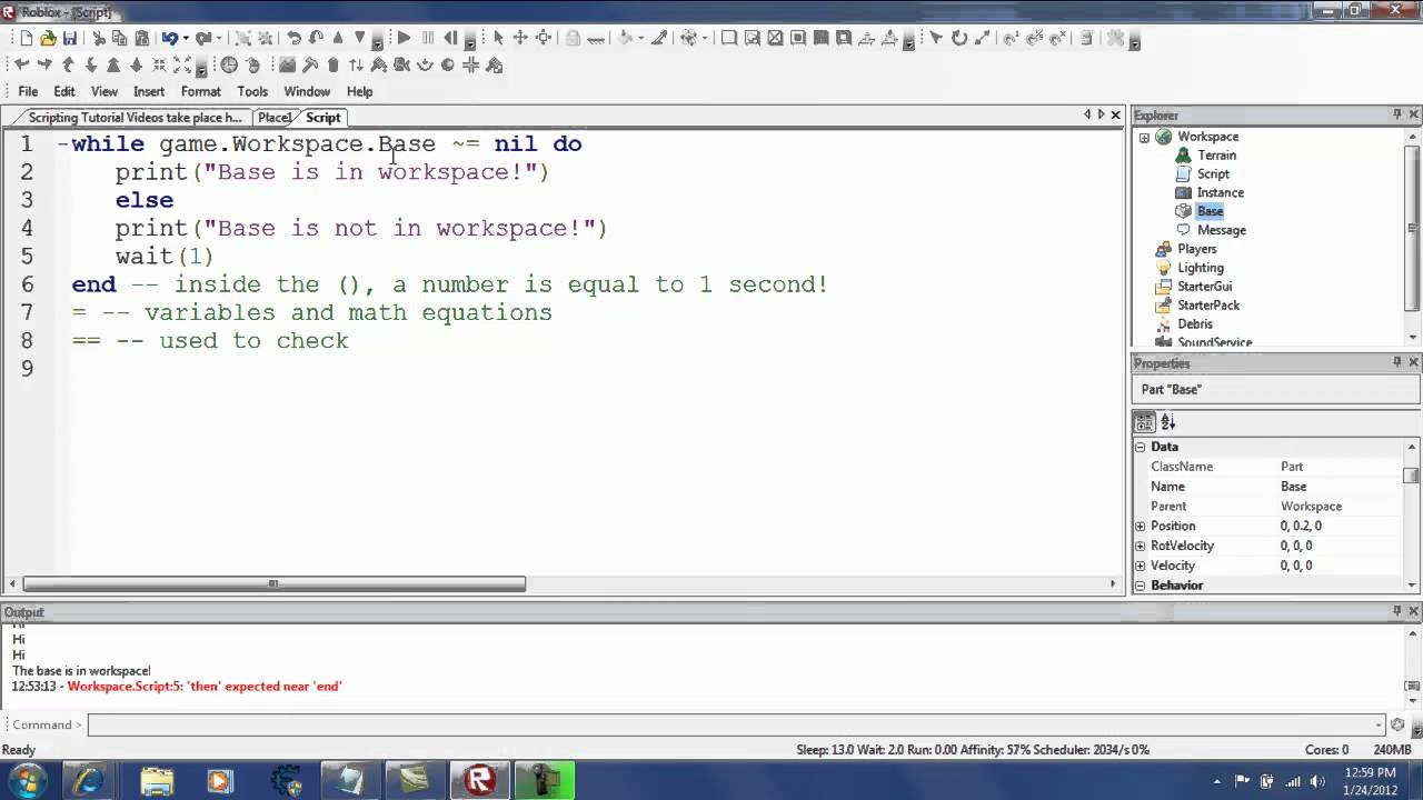 Roblox Script Tutorial Part 4 While Do And Wait Youtube