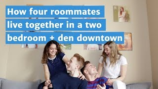 Take a tour of this two bedroom plus den shared by four roommates