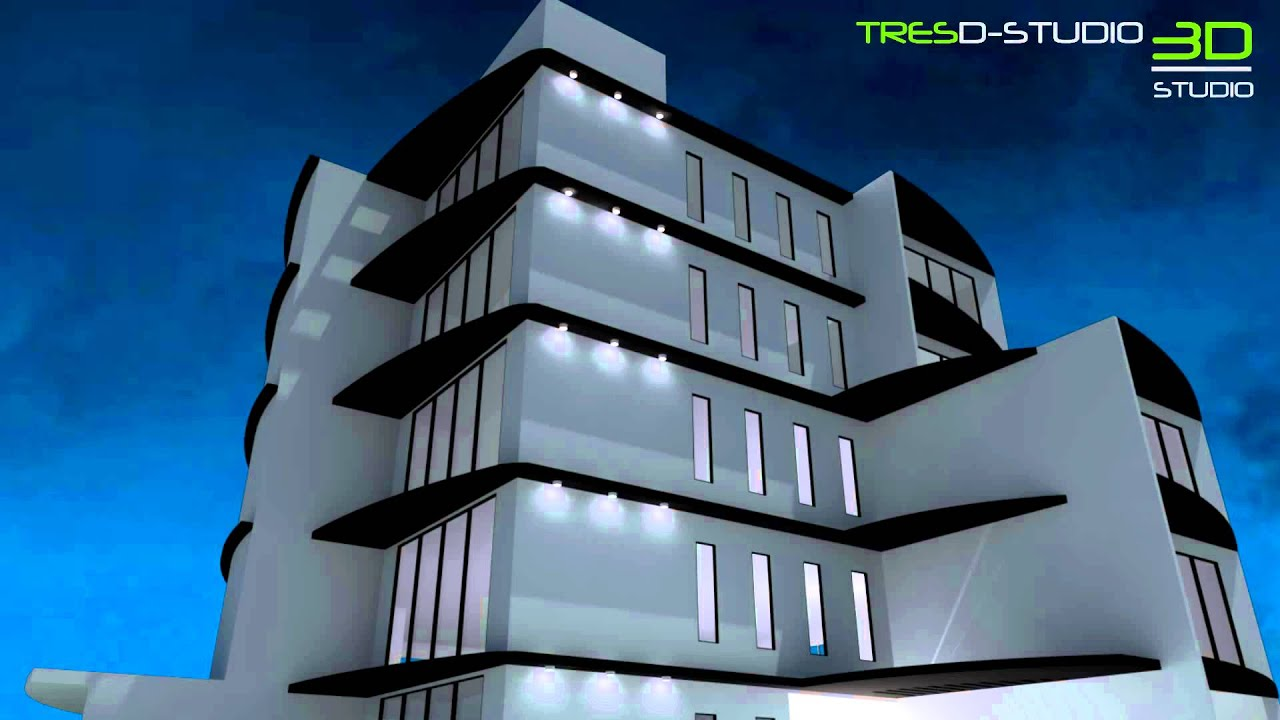 animaci n de luces exteriores de edificio 3d studio On edificio 3d