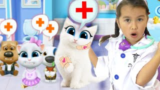 My Talking Angela needs a doctor! Pretend play Games with Doc McStuffins and Abby Hatcher