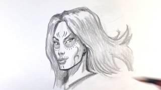 How to Draw Dia De Los Muertos Girl - Draw Tattoo Art