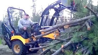 4x4 Tractor Vs Monster Pine Tree. Clean Up The Mess Aftermath