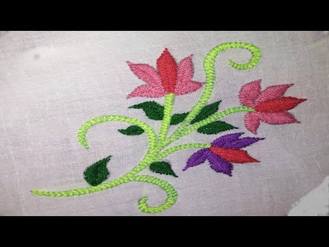 Hand Embroidery | Easy hand embroidery flowers for beginners | Fishbone stitch flowers