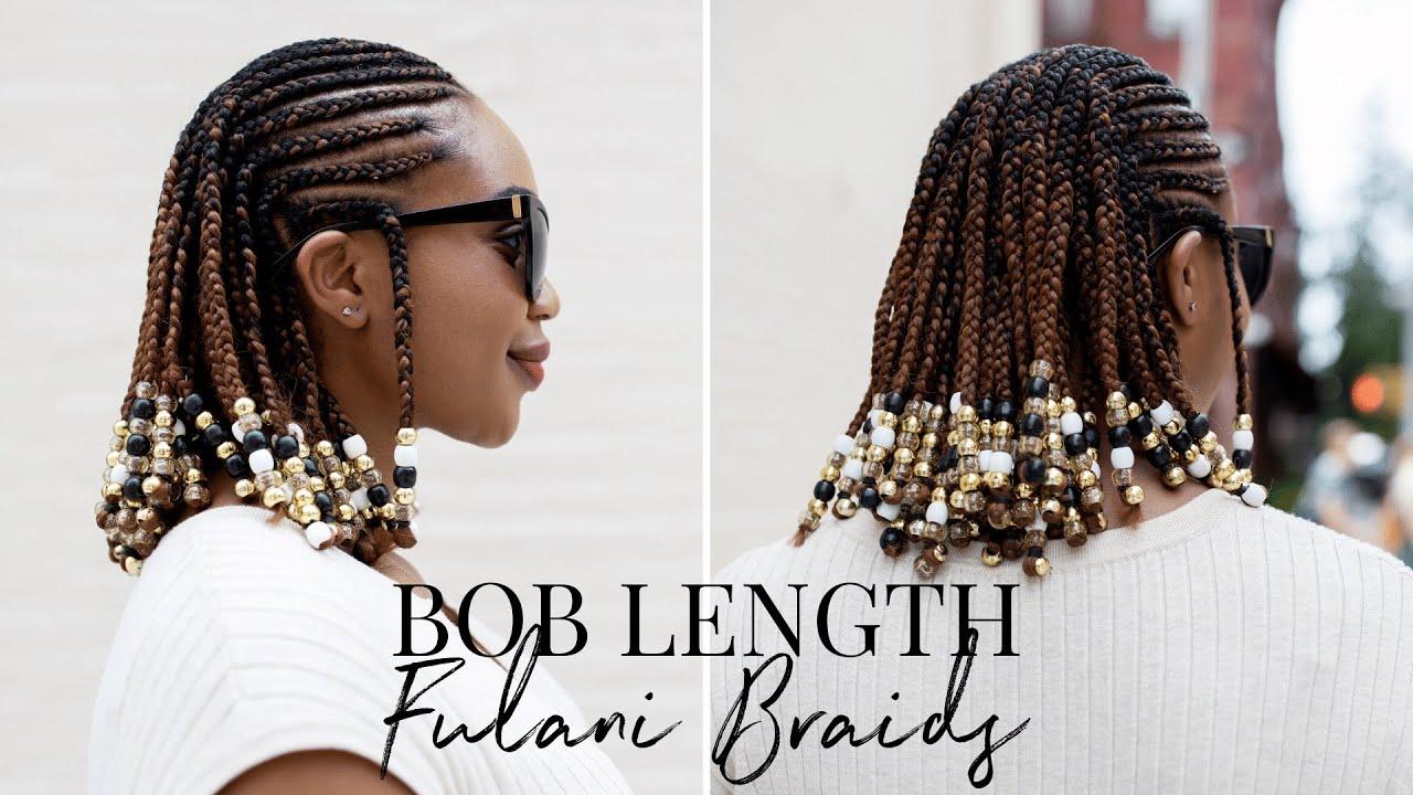 Bob Length Fulani Braids Braids And Beads Hairstyle On Natural Hair