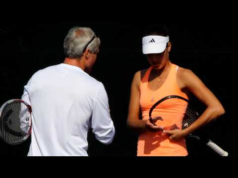 Ana Ivanovic practicing in Miami (with Nigel Sears)