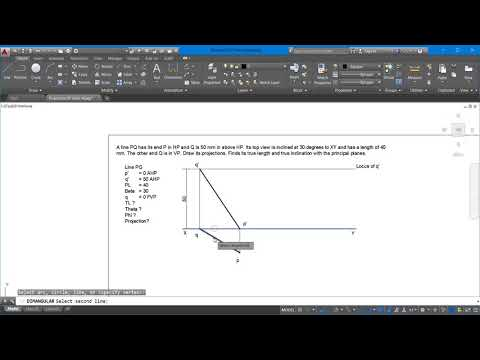 Engineering Graphics and Drawing: Projection of Lines Complete problem solutions AutoCAD Line4