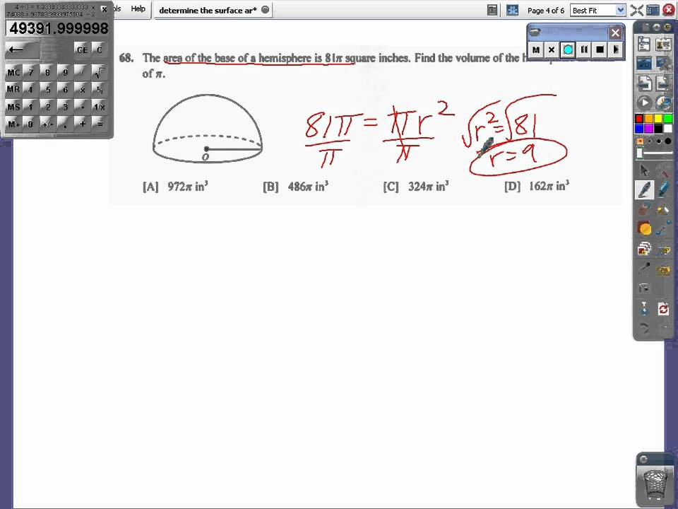 Determine the volume of a sphere or hemisphereavi youtube determine the volume of a sphere or hemisphereavi ccuart Choice Image