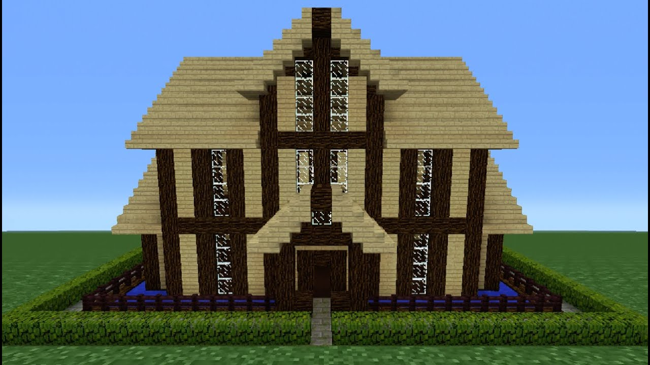 Minecraft tutorial how to make a wooden house 12 youtube for Classic house tutorial