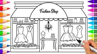 How to Draw a Fashion Store for Kids | How to Draw a Fashion Boutique | How to Draw Outfits for Girl