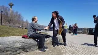 Jamming with a stranger beside the Niagara Falls