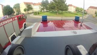 Feuerwehr Halberstadt - Einsatzfahrt HLF 20 zu Einsatzübung Maxim-Gorki-Straße