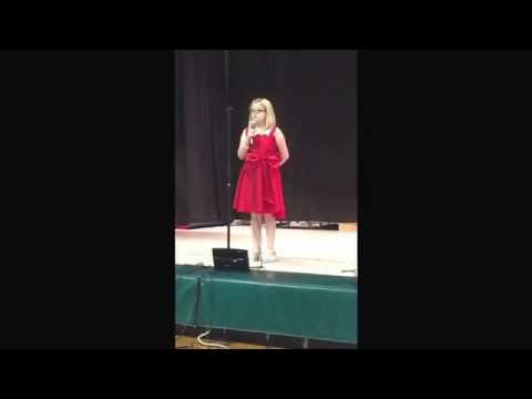 """Maddi singing """"Somewhere over the Rainbow"""" at the Rustburg Elementary School Talent show May 7, 2015"""