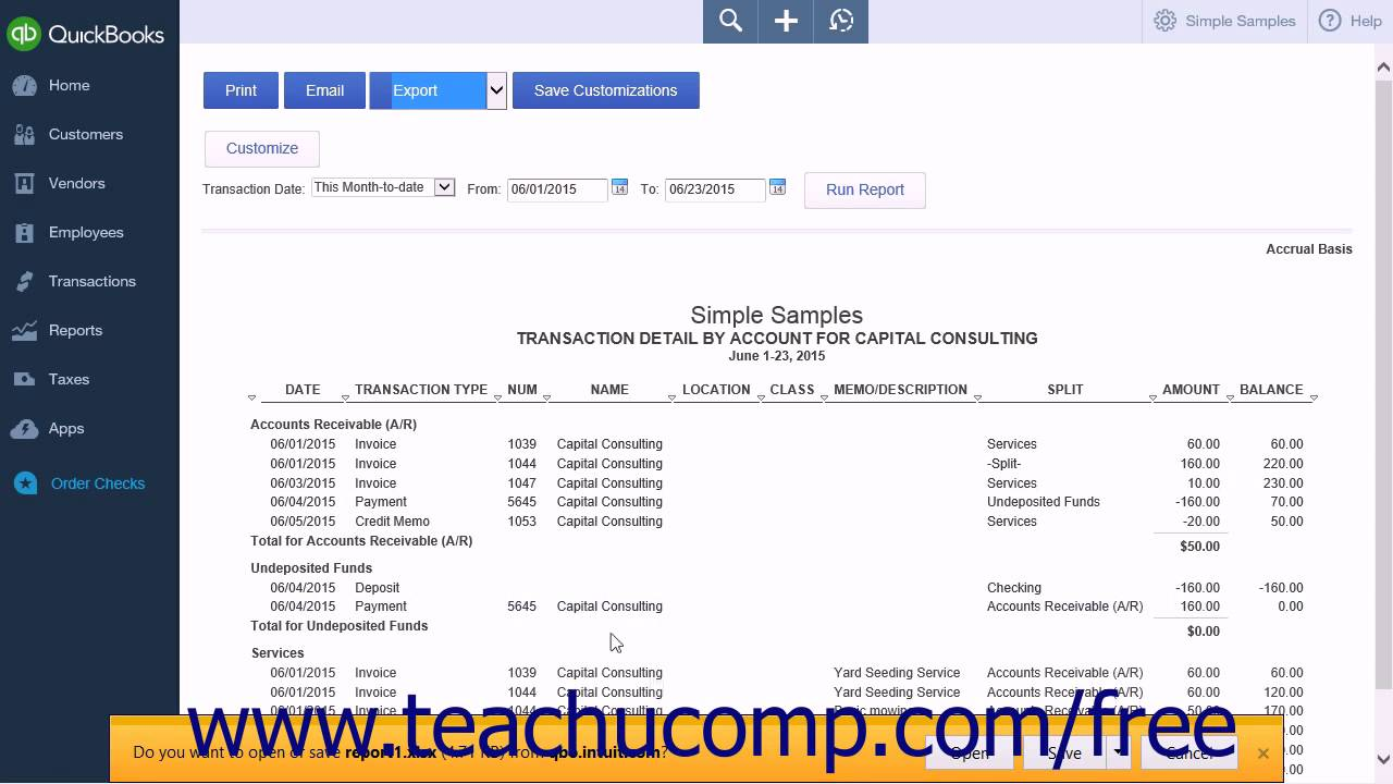 QuickBooks Online Plus Tutorial Exporting Reports To Microsoft - How to import invoices into quickbooks online from excel for service business