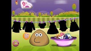 Мультик ИГРА для ДЕТЕЙ - POU. ПОУ стирает одежду. POU washes clothes. Funny Game for Kids