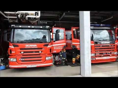 5 x fire vehicles falck ballerup brandvæsen brandbil i udrykning