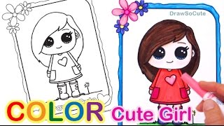 How to Color Easy with Markers, Color Pencil step by step Cute Girl
