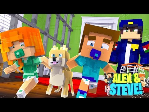 Minecraft LIFE of ALEX & STEVE  BABY ALEX & BABY STEVE STEAL A PUPPY FROM THE DOG POUND!!