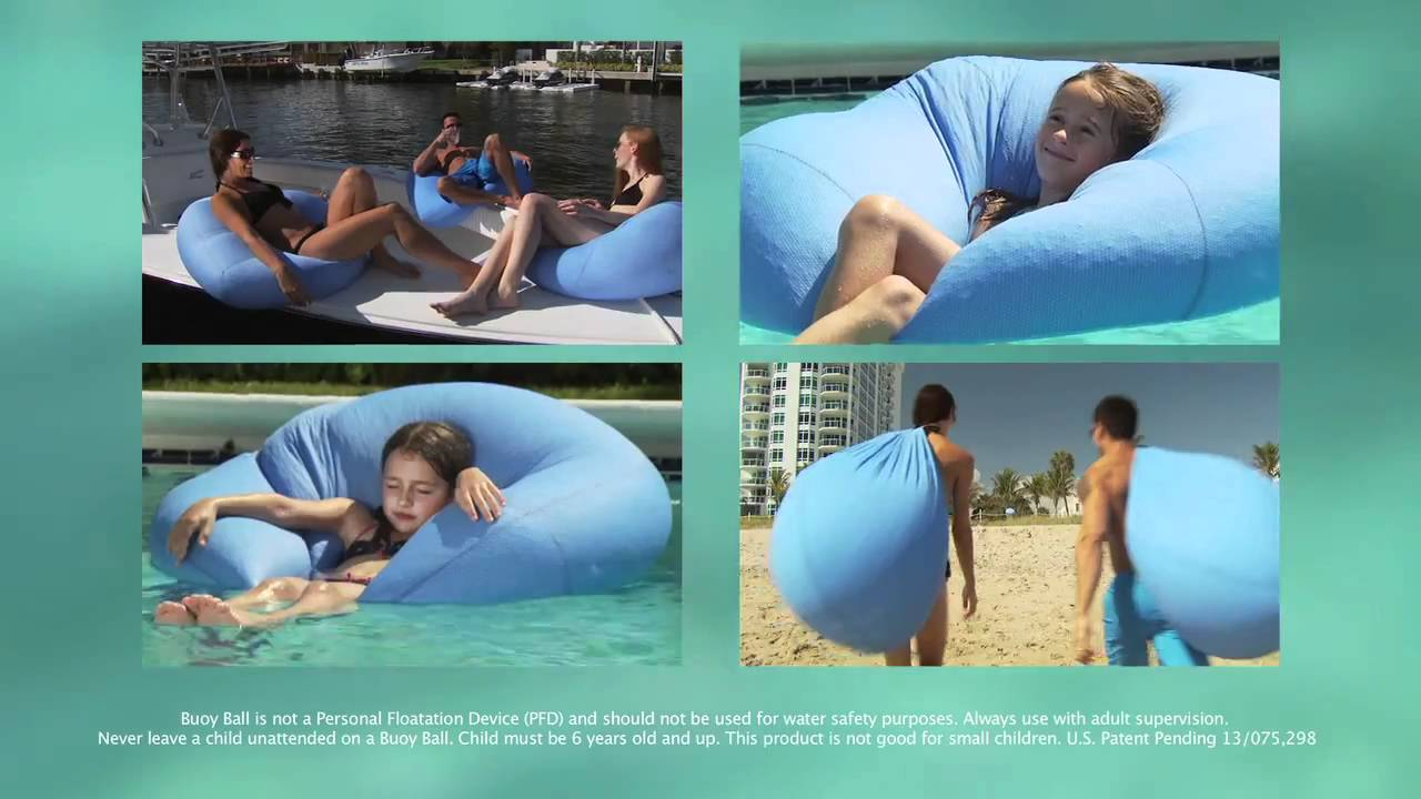 buoy ball the original floating bean bag chair youtube. Black Bedroom Furniture Sets. Home Design Ideas