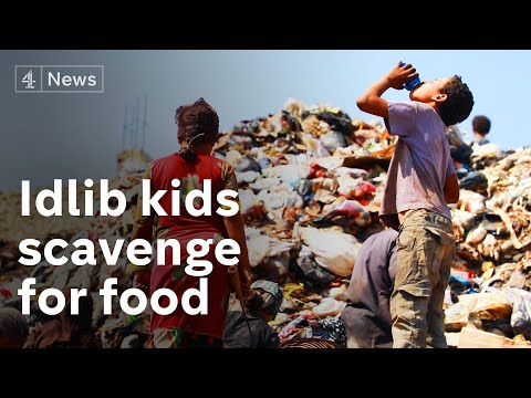 Syria: Kids in Idlib scavenge for food