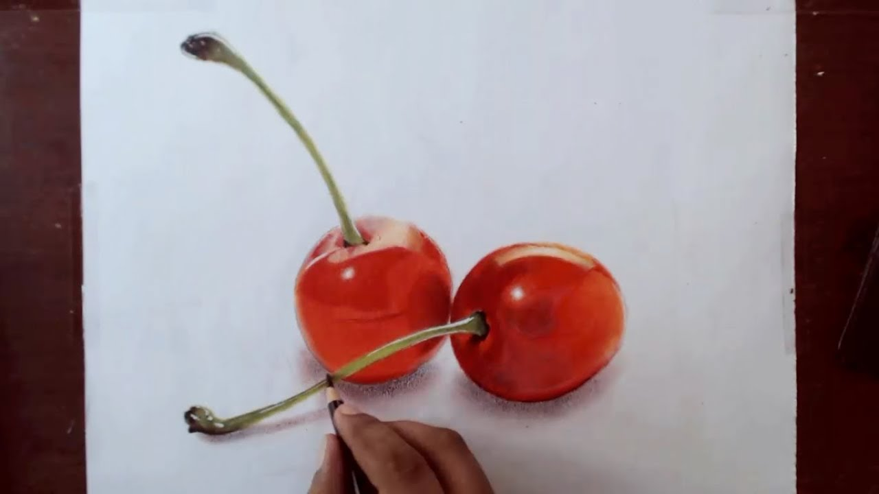 Drawing cherries prismacolor pencils